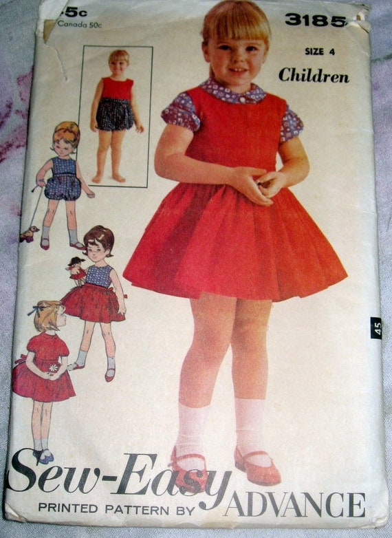 1950s Advance Sew-easy vintage pattern 3185-very cute girls seperates-skirt, blouse, bloomers