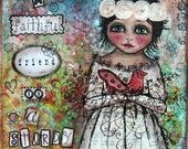 Painting 9x12 Original Mixed Media Girl Bird, White, Pink, Aqua, Blue