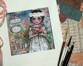 """Art Print Mixed Media Girl Bird """"A Faithful Friend Is A Sturdy Shelter"""" Scripture"""