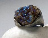 Quartz Druzy - Color Shifting Silver Ring - ''Cretian'' RESERVED
