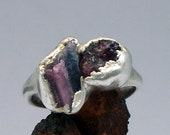 Tourmaline Silver Ring Red Rasberry Deep Fushia Pink Raw Artisan Handmade