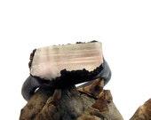 Copper Ring Tourmaline Gem Stone Pale Pink White Artisan Raw Gem Organic Oxidized