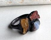 Copper Ring Imperial Topaz Crystal Cognac Pink Grapefruit Cornflower Blue Sapphire Raw Artisan Handmade