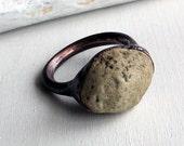Mens Unisex Copper Ring River Rock Cream Tan Metal Organic Raw Modern Rocker Handmade