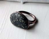 Mens Copper Ring Charcoal White Black Pebble Metal Organic Raw Modern Rocker Handmade