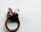 Copper Ring Tibetan Quartz Crystal Ice Natural Artisan Handmade
