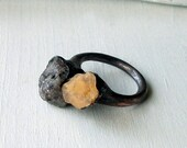 Copper Ring Druzy Opal Butter Yellow Cream Geode Frost Sugared Grey Patina Artisan Handmade