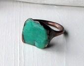 Unisex Copper Chrysoprase Ring Emerald Caribbean Green Handmade Organic Raw Modern