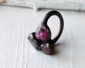 RESERVED Ruby Spinel Copper Ring Berry Magenta Purple Plum Lavendar Pink Raw Artisan Handmade