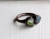 Copper Ring Peridot Sapphire Gem Stone Cornflower Blue Green Raw Gem Organic Oxidized Handmade
