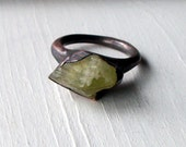 Brazilianite Copper Ring Yellow Green Olive Chartreuse Raw Gem Stone Crystal Artisan Handmade