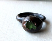 Copper Ring Tourmaline Emerald Shamrock Green Crystal Geode Gem Stone  Raw Handmade Artisan