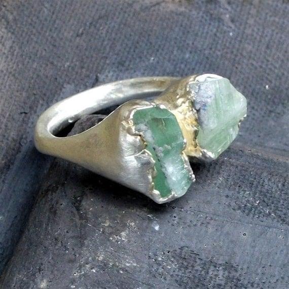 Silver Ring Tourmaline Carribean Pale Green Artisan Raw Gem Organic