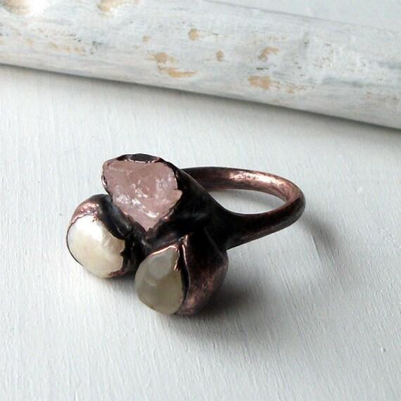 Topaz Morganite Pearl Copper Ring Pink Cream Raw Gem Stone Crystal Artisan Handmade