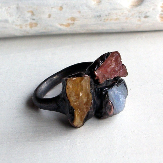 Copper Ring Imperial Topaz Crystal Cognac Pink Grapefruit Cornflower Blue Sapphire Raw Artisan Handmade