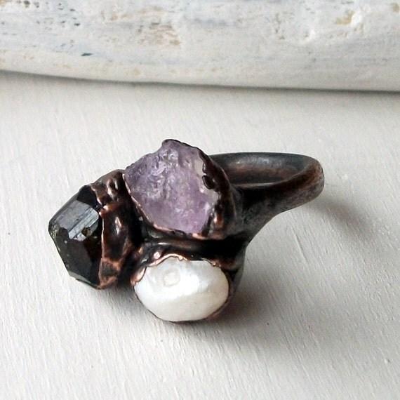 Amethyst Garnet Pearl Copper Ring Purple Pale Lilac Violet Raw Gem Artisan Handmade