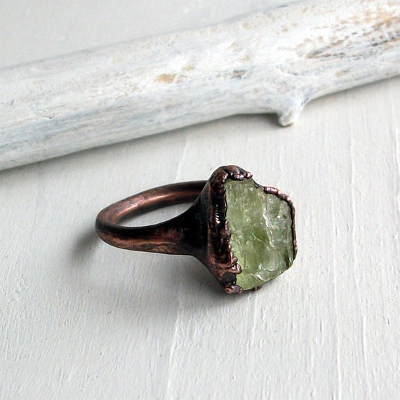 Copper Beryl Ring Crystal Spring Green Citrus Raw Artisan Handmade