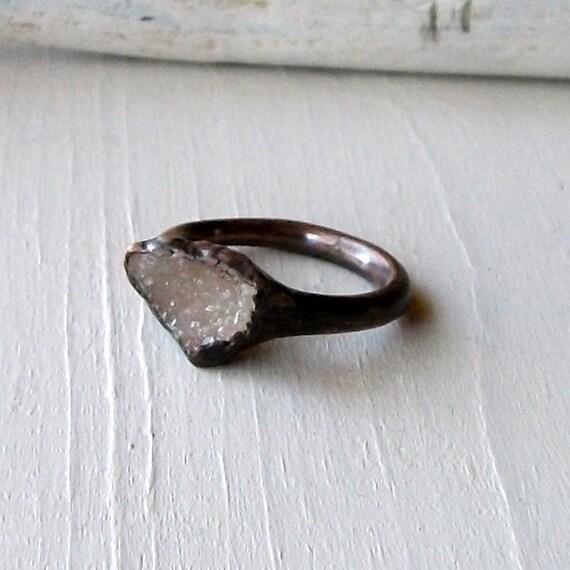 Druzy Copper Ring Geode Cream Champagne Handmade Artisan