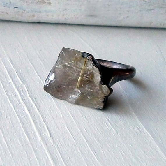 Copper Ring Rutile Gold Quartz Phantom Crystal Facet Rough Natural Artisan Handmade