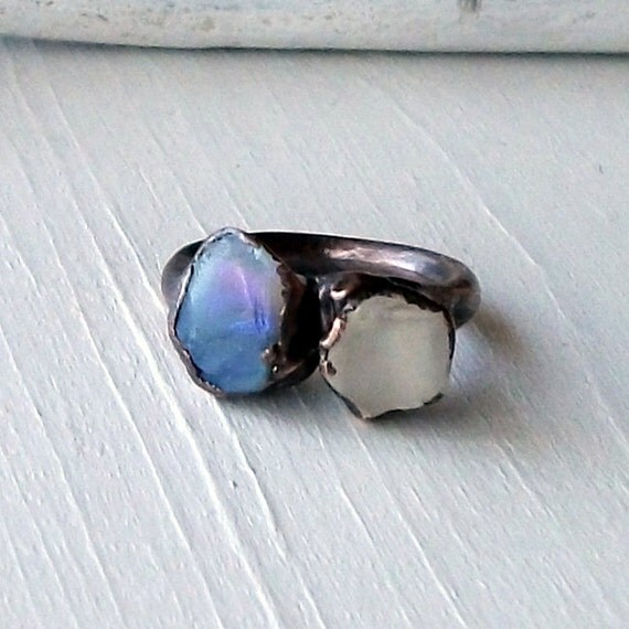 Copper Opal Ring Lightning Ridge Stone October Birthstone Natural Raw Patina Artisan