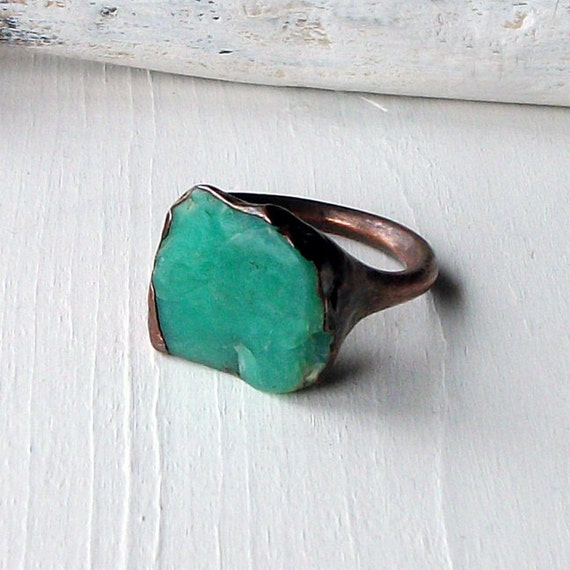 Unisex Copper Chrysoprase Ring Emerald Caribbean Green Handmade Organic Raw Modern