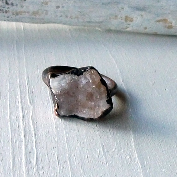 Ring Druzy Copper Geode Agate Gem Stone Frost Sugared Pink Grey Crystal Ice Patina Artisan