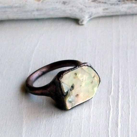 Copper Abalone Ring Shell Cream Iridescent Natural Raw Patina Artisan