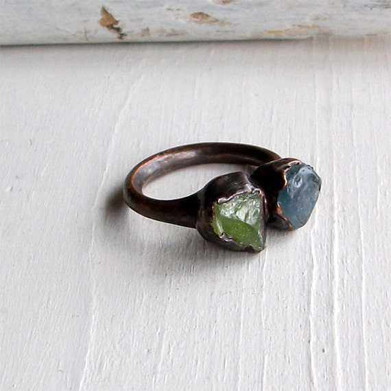 Copper Ring Peridot Sapphire Gem Stone Cornflower Blue Green Raw Gem Organic Oxidized Handmade