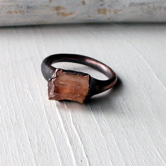 Copper Ring Imperial Topaz Crystal Warm Peach Raw Patina Artisan Handmade