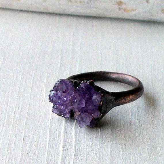 Copper Ring Amethyst Purple Lavender Violet Raw Crystal February Birthstone Artisan Handmade