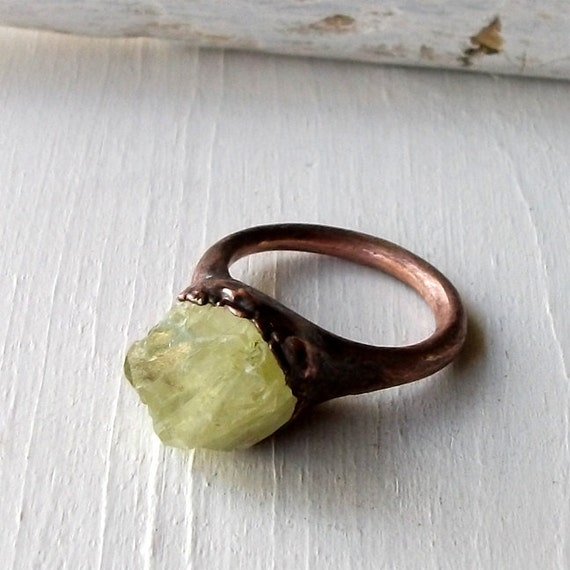 Copper Ring Brazilianite Yellow Green Olive Chartreuse Raw Gem Stone Artisan Handmade