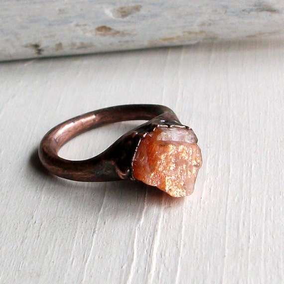 Sunstone Copper Ring Peach Confetti Gem Stone Artisan Raw Gem Organic Oxidized For Her