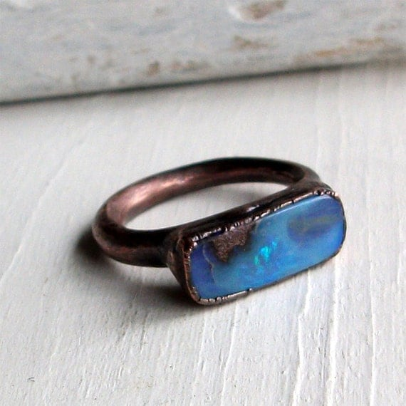Copper Boulder Opal Ring Electric Blue Stone October Birthstone Natural Raw Patina Artisan