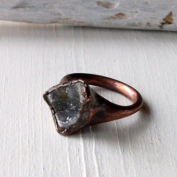 Ring Druzy Copper Geode Agate Gem Stone Frost Sugared Grey White Handmade Artisan