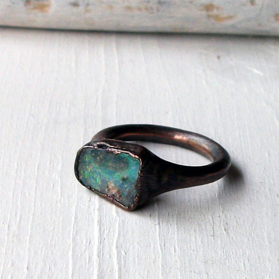 Copper Boulder Opal Ring Stone October Birthstone Natural Raw Patina Artisan