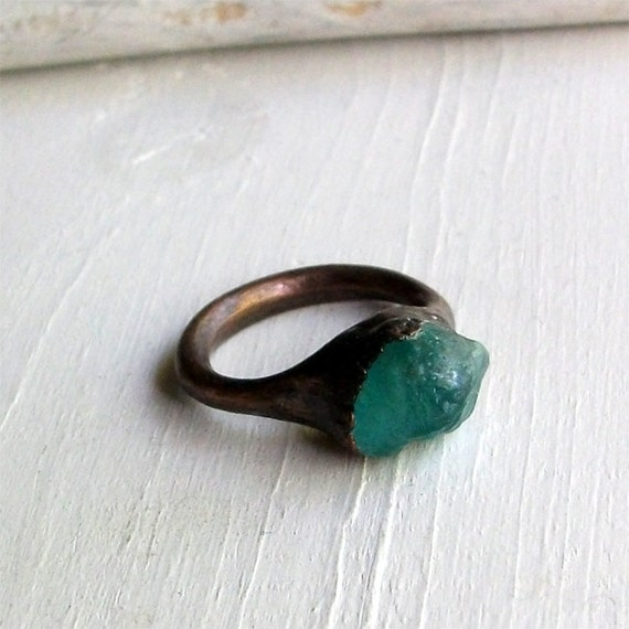 Apatite Copper Ring Simple Modern Deep Blue Green Teal Artisan Handmade
