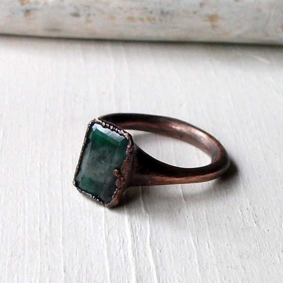 emerald ring copper shamrock green may by midwestalchemy