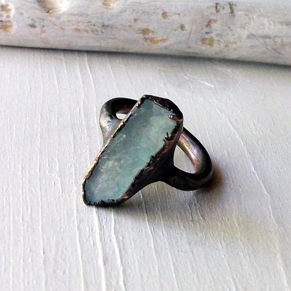 Copper Ring Aquamarine Ring Pale Sky Blue Organic Raw Artisan Handmade