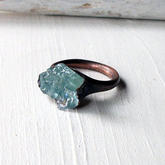 Copper Ring Aquamarine Ring Sky Blue Green Organic Raw Artisan Handmade