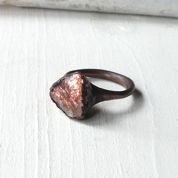 Sunstone Copper Ring Peach Confetti Gem Stone Artisan Raw Gem Organic Oxidized For Her