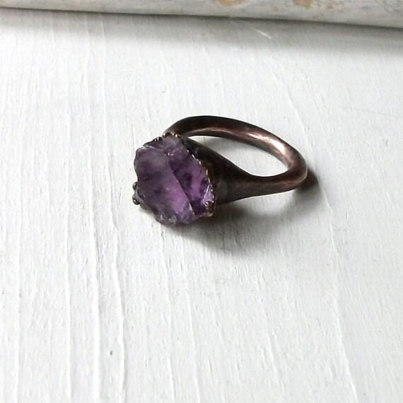 Copper Ring Amethyst Purple Violet Lilac Raw Gem Stone February Birthstone Artisan Handmade