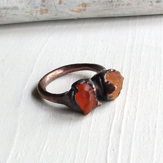 Copper Ring Opal Ring Tangerine Orange Gem Stone October Birthstone Raw Handmade Artisan