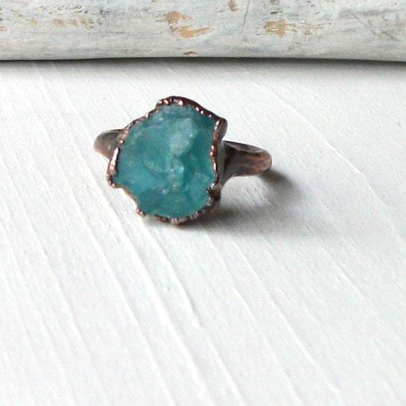 Copper Ring Apatite Simple Modern Blue Green Teal Artisan Handmade