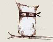 art print, masked owl