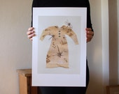 dragonfly dress - collage / mixed media fine art print A3 plus size