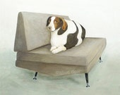 mid century chair with big dog - pigment print