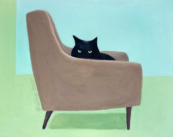 Cat on mid century chair,  pigment print