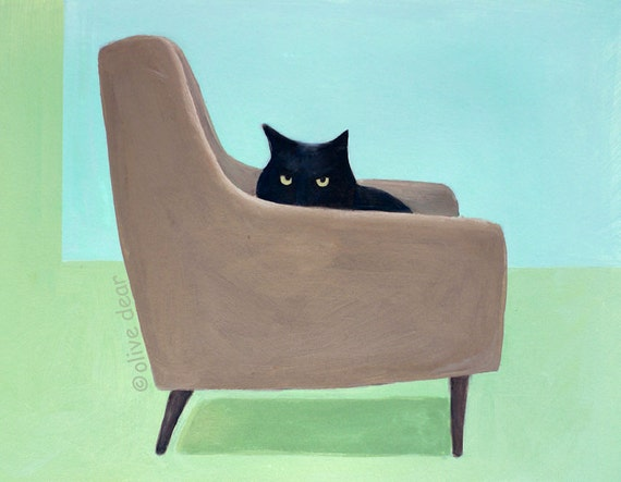 Cat on mid century chair,  LARGE pigment print