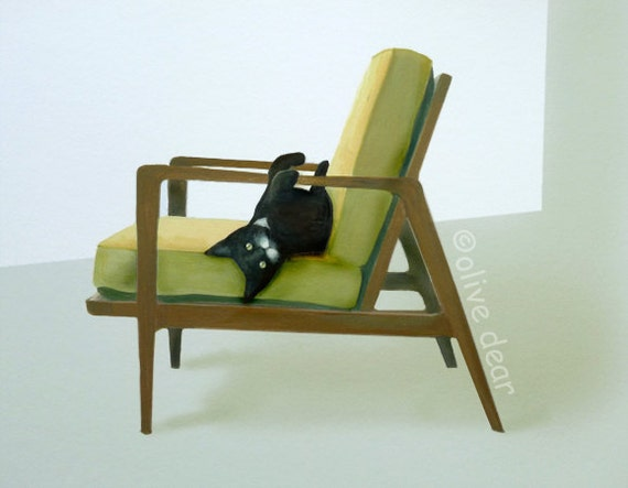 cat on mid century chair 2 - large pigment print