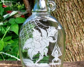 Recycled Hand Engraved Glass Bottle Spider Web Roses
